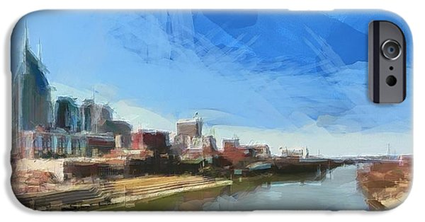 Painted Hall iPhone Cases - Nashville Skyline Panorama iPhone Case by Dan Sproul
