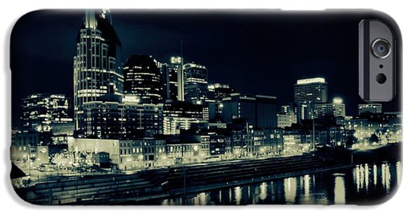 Nashville Architecture iPhone Cases - Nashville Skyline Reflected At Night iPhone Case by Dan Sproul