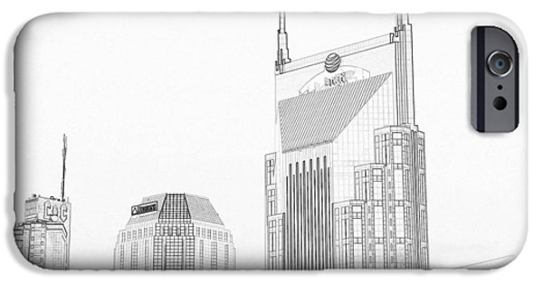 Buildings Mixed Media iPhone Cases - Nashville Skyline Sketch Batman Building iPhone Case by Dan Sproul