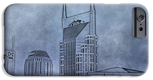 Nashville Skyline iPhone Cases - Nashville Skyline Sketch iPhone Case by Dan Sproul