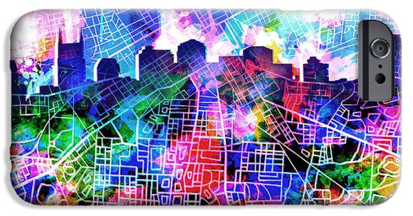 Abstract Digital Digital iPhone Cases - Nashville Skyline Watercolor 5 iPhone Case by MB Art factory