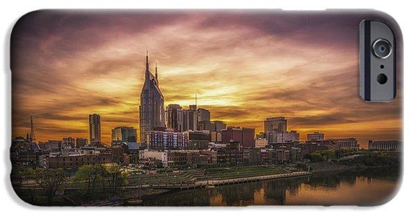 Skylines Pyrography iPhone Cases - Nashville Sunset iPhone Case by Yasar Ugurlu