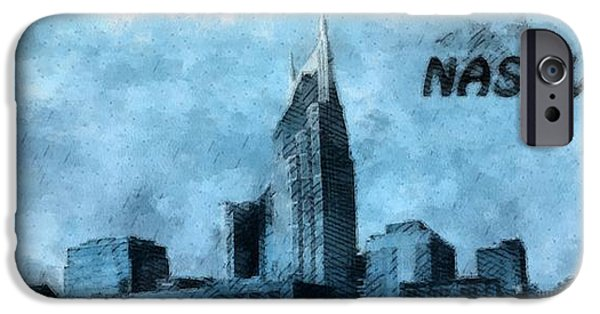 Buildings Mixed Media iPhone Cases - Nashville Tennessee In Blue iPhone Case by Dan Sproul