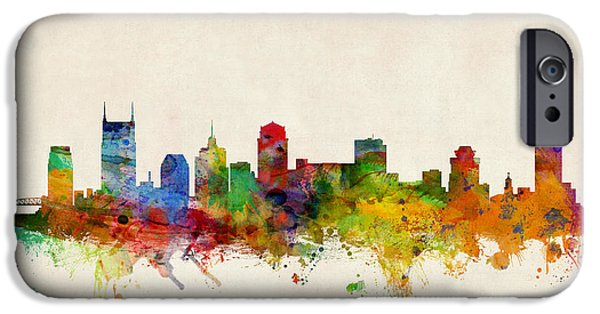 States Digital iPhone Cases - Nashville Tennessee Skyline iPhone Case by Michael Tompsett