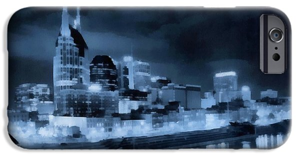 Nashville Architecture iPhone Cases - Nashville Tennessee Skyline Twilight iPhone Case by Dan Sproul
