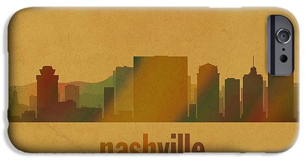 Nashville Tennessee iPhone Cases - Nashville Tennessee Skyline Watercolor On Parchment iPhone Case by Design Turnpike