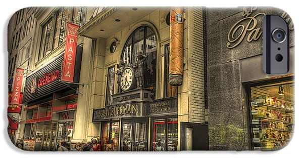 42nd Street iPhone Cases - Nat Sherman iPhone Case by David Bearden