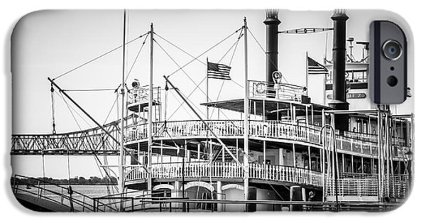 Paddle iPhone Cases - Natchez Steamboat in New Orleans Black and White Picture iPhone Case by Paul Velgos