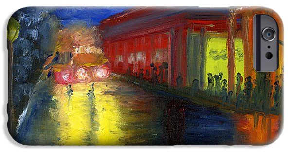 Mardi Gras Paintings iPhone Cases - Natchitoches Louisiana Mardi Gras Parade at Night iPhone Case by Lenora  De Lude