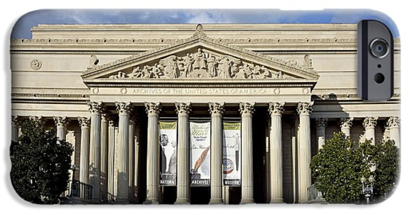 D.c. iPhone Cases - National Archives Building - Washington DC iPhone Case by Brendan Reals