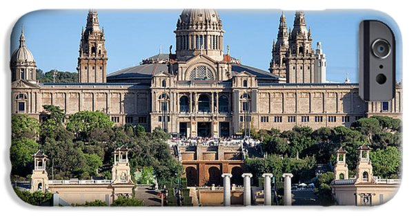 National Building Museum iPhone Cases - National Art Museum of Catalonia at Montjuic in Barcelona iPhone Case by Artur Bogacki