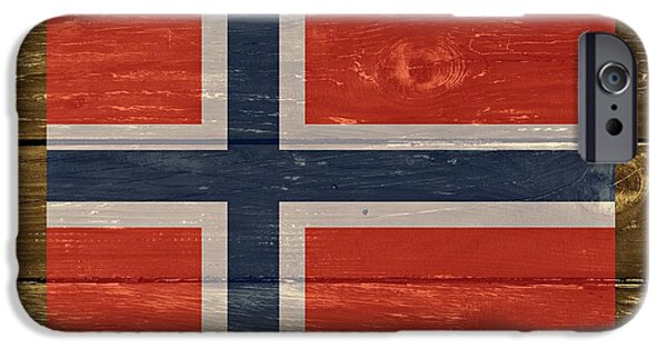 Norway iPhone Cases - Norway National Flag on Wood iPhone Case by Movie Poster Prints