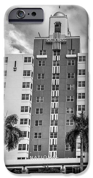 Ianmonk iPhone Cases - National Hotel - South Beach - Miami - Florida - Black and White iPhone Case by Ian Monk