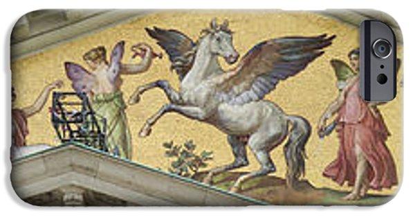 Zeus iPhone Cases - National theater Munich glass mosaic 1 iPhone Case by Rudi Prott