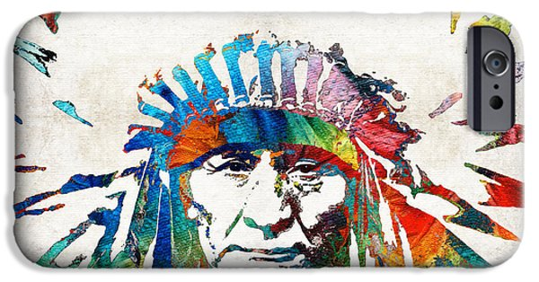 Heads iPhone Cases - Native American Art - Chief - By Sharon Cummings iPhone Case by Sharon Cummings