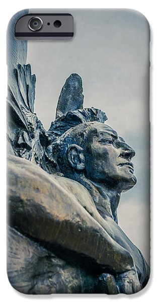 Colonial Man iPhone Cases - Native American iPhone Case by Edward Fielding