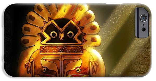 Spirit Hawk iPhone Cases - Native American Hawk Spirit Gold Idol iPhone Case by John Wills