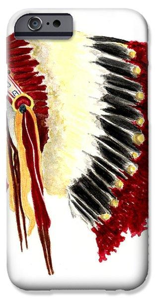 Native American Art iPhone Cases - Native American Headdress iPhone Case by Michael Vigliotti
