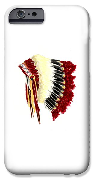 Native American Art iPhone Cases - Native American Headdress iPhone Case by Michael Vigliotti
