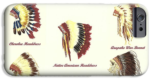 Arapaho iPhone Cases - Native American Headdresses Number 4 iPhone Case by Michael Vigliotti