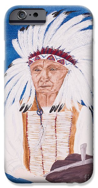 Native American Spirit Portrait iPhone Cases - Native American indian painting by Carolyn Bennett iPhone Case by Simon Bratt Photography LRPS