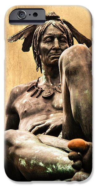 Franklin iPhone Cases - Native American Indian Sculpture iPhone Case by Tom Gari Gallery-Three-Photography