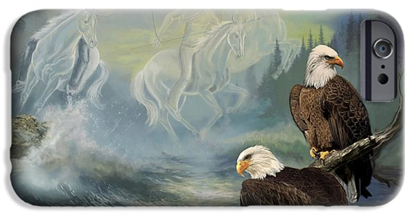 Animal Cards iPhone Cases - Native American painting Spirit Riders iPhone Case by Gina Femrite