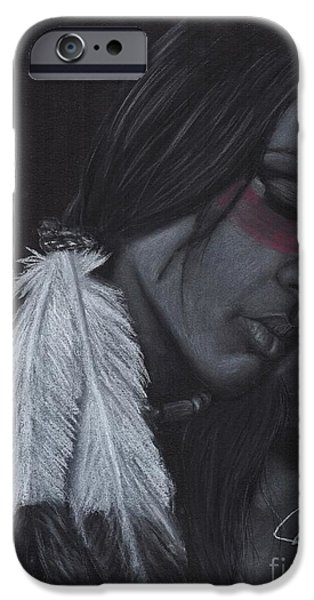Native Drawings iPhone Cases - Native American iPhone Case by Rosalinda Markle