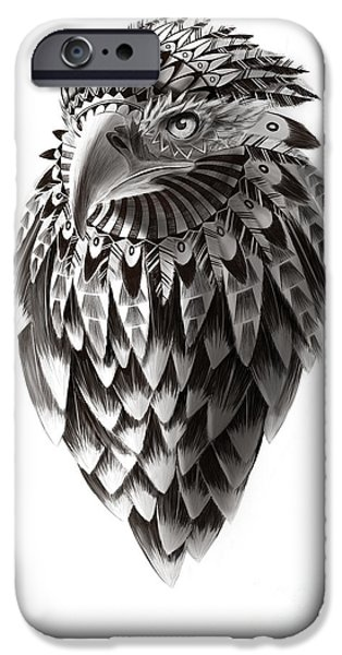 American Eagle Paintings iPhone Cases - Native American Shaman Eagle iPhone Case by Sassan Filsoof