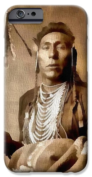 Crows Mixed Media iPhone Cases - Native American Warrior Vintage iPhone Case by Dan Sproul