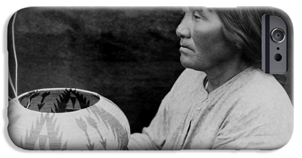 Basket iPhone Cases - Native American woman circa 1924 iPhone Case by Aged Pixel