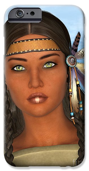 Native American Spirit Portrait iPhone Cases - Native American Woman iPhone Case by Design Windmill