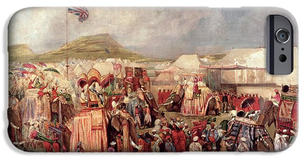 Elephants iPhone Cases - Native Princes Arriving In Camp For The Imperial Assemblage At Delhi, 1877 iPhone Case by George Landseer