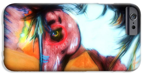 Mixed Media Pastels iPhone Cases - Native War Horse 2 iPhone Case by Angela Pari  Dominic Chumroo
