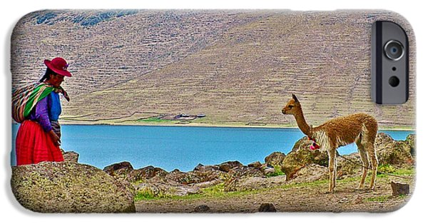 Llama Digital iPhone Cases - Native Woman and her Llama Near Sullistani on Lake Ayumara-Peru iPhone Case by Ruth Hager