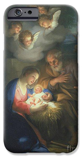 Angel. Spiritual iPhone Cases - Nativity Scene iPhone Case by Anton Raphael Mengs