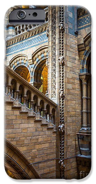 Britain iPhone Cases - Natural History Museum staircase iPhone Case by Inge Johnsson