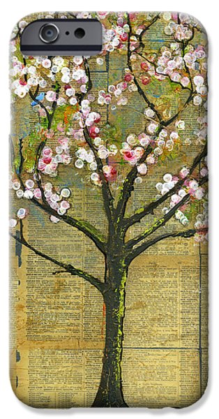 Blossom Mixed Media iPhone Cases - Nature Art Landscape - Lexicon Tree iPhone Case by Blenda Studio