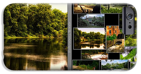 Nature Center Pond iPhone Cases - Nature Center 01 Collage Fullersburg Woods 2 Panel iPhone Case by Thomas Woolworth