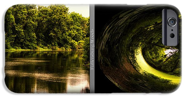 Nature Center Pond iPhone Cases - Nature Center 01 End Of The Path Polar View Fullersburg Woods 2 Panel iPhone Case by Thomas Woolworth