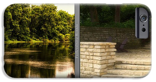 Nature Center Pond iPhone Cases - Nature Center 01 Flagstone Patio Fullersburg Woods 2 Panel iPhone Case by Thomas Woolworth