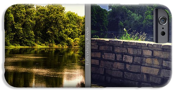 Nature Center Pond iPhone Cases - Nature Center 01 Flagstone Wall Fullersburg Woods 2 Panel iPhone Case by Thomas Woolworth