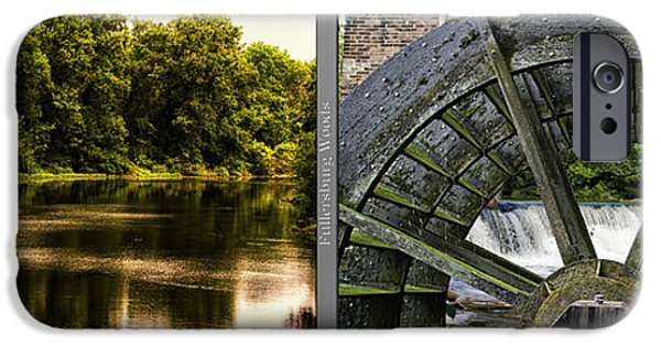 Nature Center Pond iPhone Cases - Nature Center 01 Grist Mill Wheel Fullersburg Woods 2 Panel iPhone Case by Thomas Woolworth
