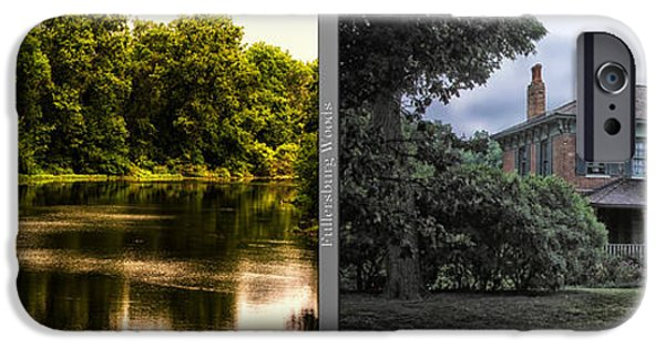 Nature Center Pond iPhone Cases - Nature Center 01 Italianate House Fullersburg Woods 2 Panel iPhone Case by Thomas Woolworth