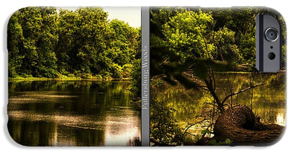 Nature Center Pond iPhone Cases - Nature Center 01 Natural Seating Fullersburg Woods 2 Panel iPhone Case by Thomas Woolworth