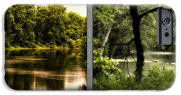 Nature Center Pond iPhone Cases - Nature Center 01 Tree Silhouette Fullersburg Woods 2 Panel iPhone Case by Thomas Woolworth