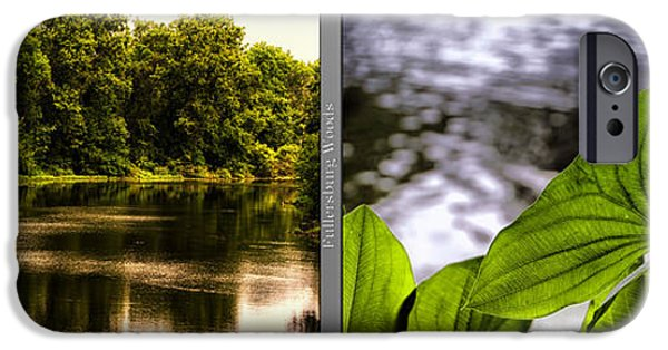 Nature Center Pond iPhone Cases - Nature Center 01 Water Leaf Fullersburg Woods 2 Panel iPhone Case by Thomas Woolworth