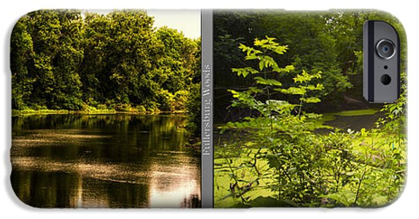 Nature Center Pond iPhone Cases - Nature Center 01 With Bridge Fullersburg Woods 2 Panel iPhone Case by Thomas Woolworth