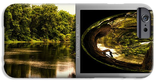 Nature Center Pond iPhone Cases - Nature Center 01 Wood Polar View Fullersburg Woods 2 Panel iPhone Case by Thomas Woolworth
