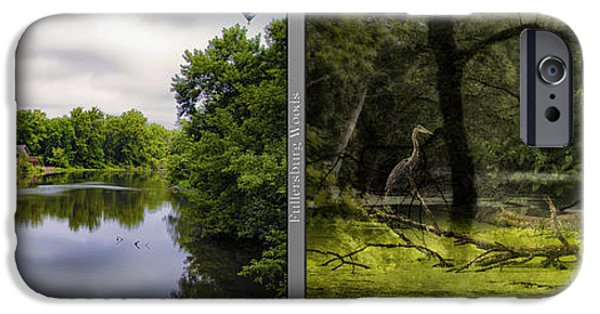 Nature Center Pond iPhone Cases - Nature Center 02 Bird Tree Silhouette Merge  Fullersburg Woods 2 Panel iPhone Case by Thomas Woolworth